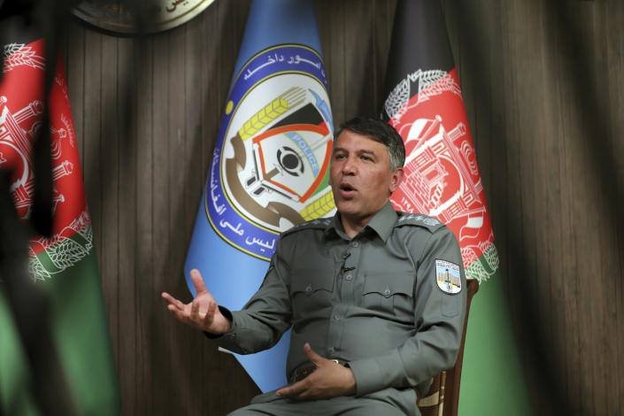 Afghan Interior Minister Masoud Andarabi speaks during an interview to the Associated Press at the Ministry of the Interior in Kabul, Afghanistan, Saturday, March. 13, 2021. (AP Photo/Rahmat Gul)