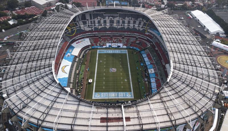 An aerial view of the Azteca Stadium in Mexico City, Saturday, Nov. 16, 2019, where the Kansas City Chiefs and Los Angeles Rams will face off for a regular-season Monday Night Football game. Heavy rain and heavy use last year left the grass unfit for the AFC matchup, forcing the Chiefs-Rams game to be relocated to Los Angeles. (AP Photo/Christian Palma)