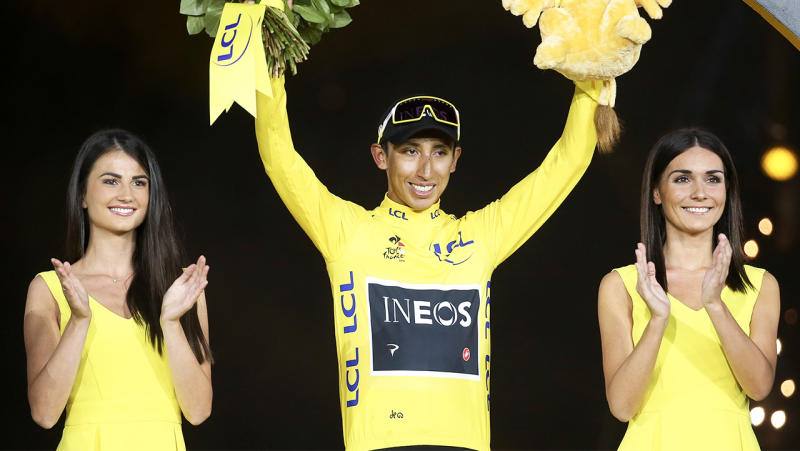 Winner of Tour de France 2019, yellow jersey Egan Bernal Gomez of Colombia and Team Ineos during the podium ceremony.