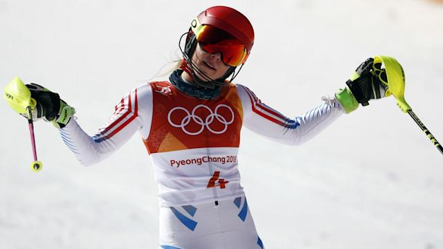 """Mikaela Shiffrin has no regrets over her slalom run in Pyeongchang after going over it """"a thousand times"""" in her head."""