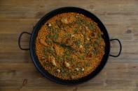 Traditional paella made by chef Maria Munoz in her cooking school Cocinea in Madrid