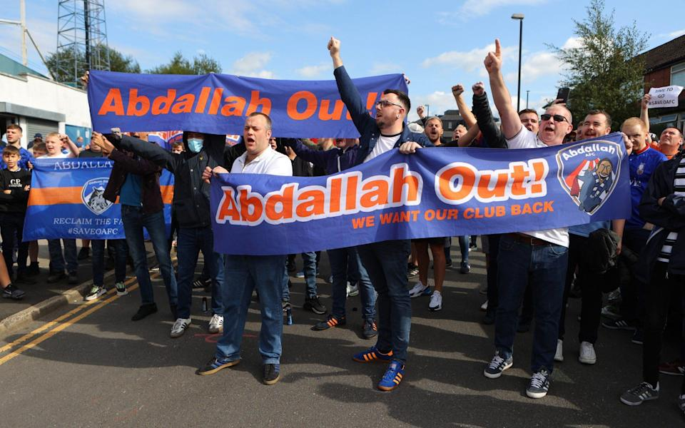 Fans protest outside the stadium against Oldham Athletic owner Abdallah Lemsagem prior to the Sky Bet League Two match between Oldham Athletic and Hartlepool United - James Gill/Getty Images