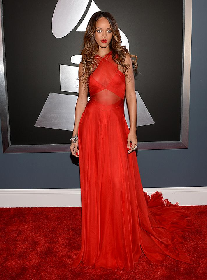 LOS ANGELES, CA - FEBRUARY 10:  Singer Rihanna attends the 55th Annual GRAMMY Awards at STAPLES Center on February 10, 2013 in Los Angeles, California.  (Photo by Larry Busacca/WireImage)