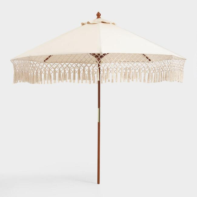 Natural 9 Ft Replacement Umbrella Canopy With Fringe. (Photo: World Market)