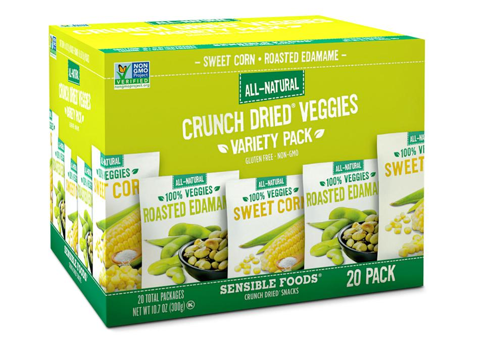 box of sensible foods crunch dried veggie snacks
