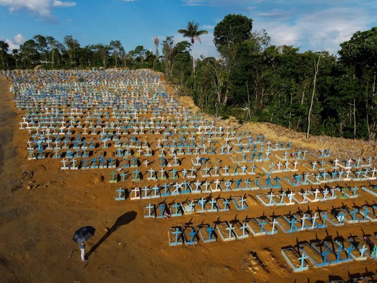 An aerial view of the burial site reserved for victims of the COVID-19 pandemic at the Nossa Senhora Aparecida cemetery in Manaus, in the Amazon forest in Brazil on November 21, 2020.