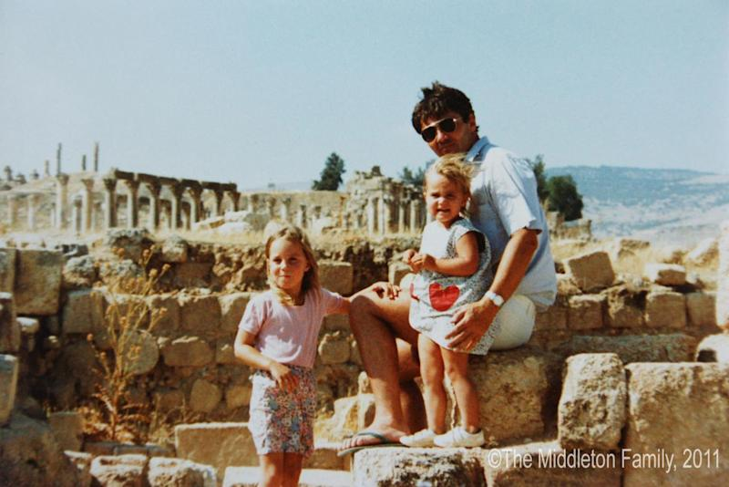 Family photo: the Duchess of Cambridge, aged four, with her father Michael Middleton and sister Pippa in Jerash, Jordan (The Middleton Family/PA)