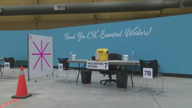 A clinic at the John D. Bradley Convention Centre in Chatham opened for vaccinations on Feb. 23. (Talish Zafar/CBC - image credit)