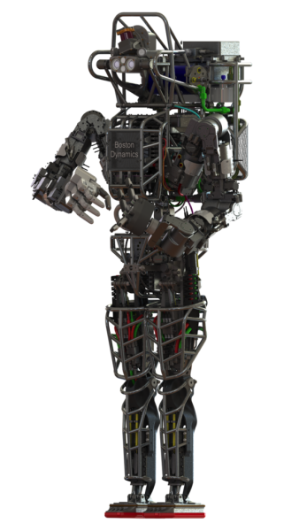 DARPA's humanoid Atlas robot is designed to assist with a range of emergency services, including search and rescue operations.