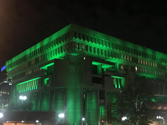 """<p>Photo posted by Boston Mayor, Marty Walsh. He tweet """"City Hall is green tonight. Boston stands with the environment. We must protect our future. #ParisAccord."""" (Mayor Marty Walsh via Twitter) </p>"""