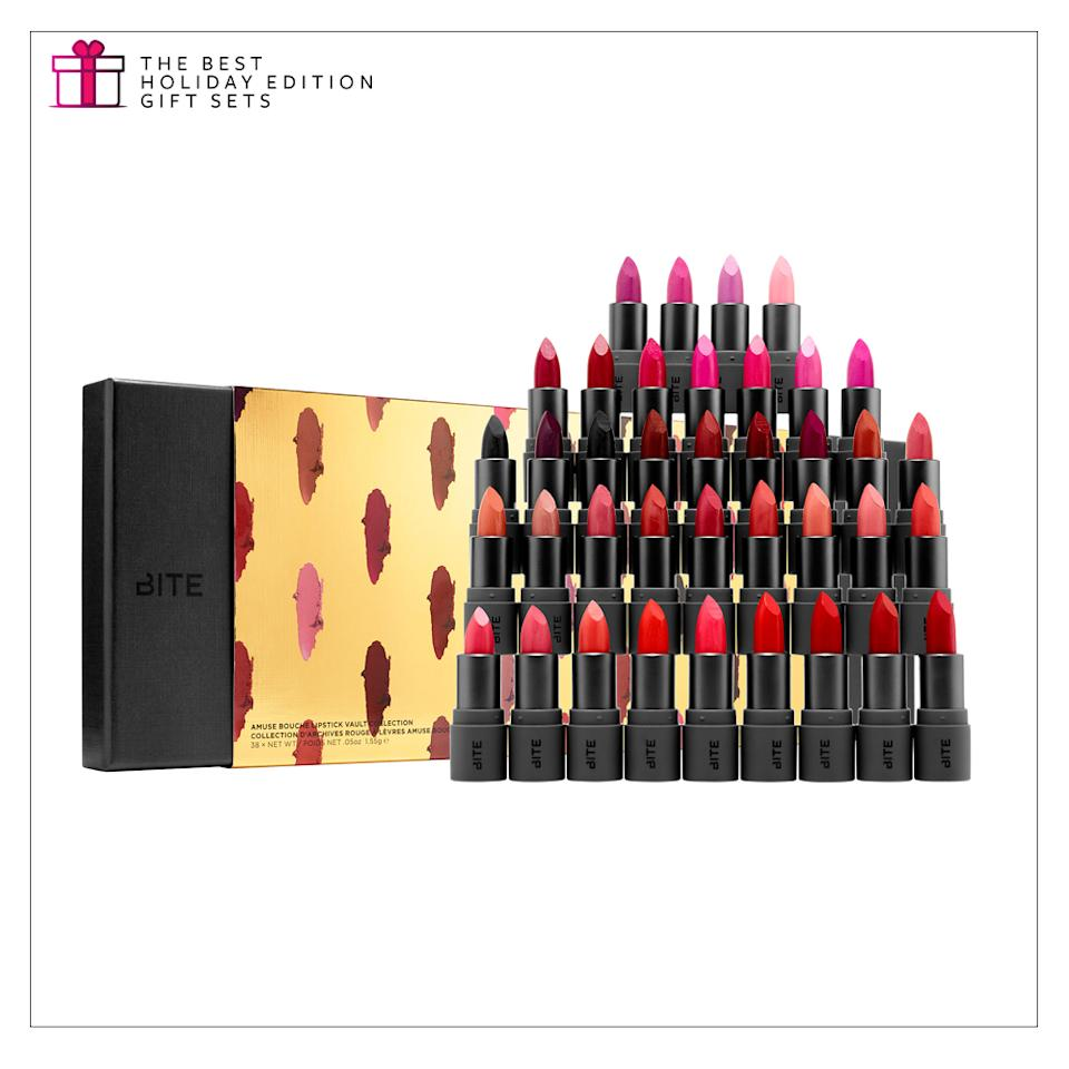 """<p>With safe ingredients and a color for every skin tone and occasion, just about anyone would love to receive this collection. <a rel=""""nofollow"""" href=""""http://www.sephora.com/amuse-bouche-lipstick-vault-collection-P414709"""">Bite Beauty Amuse Bouche Lipstick Vault Collection</a>, $195. (Photo: Bite Beauty) </p>"""