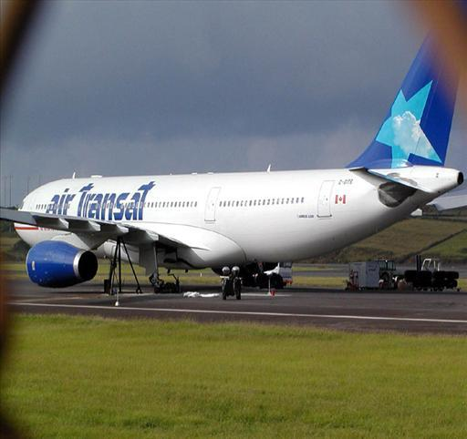 Air Transat Airbus A330 jet on tarmac, Lages Airport, Azores Island, Terceira, Portugal (Associated Press)