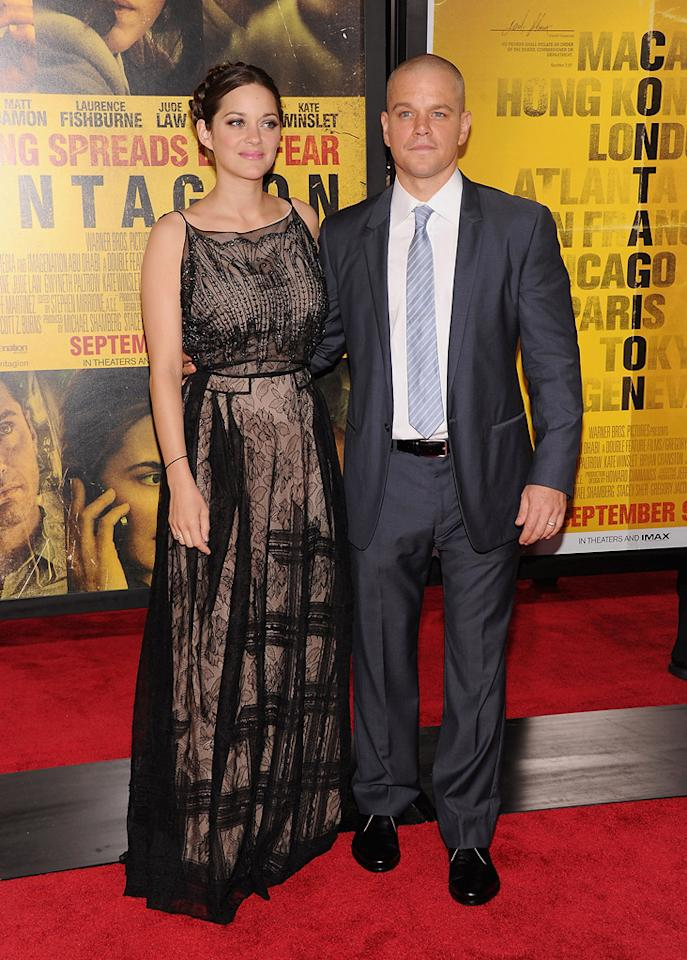 "<a href=""http://movies.yahoo.com/movie/contributor/1800277300"">Marion Cotillard</a> and <a href=""http://movies.yahoo.com/movie/contributor/1800020155"">Matt Damon</a> at the New York City premiere of <a href=""http://movies.yahoo.com/movie/1810161340/info"">Contagion</a> on September 7, 2011."