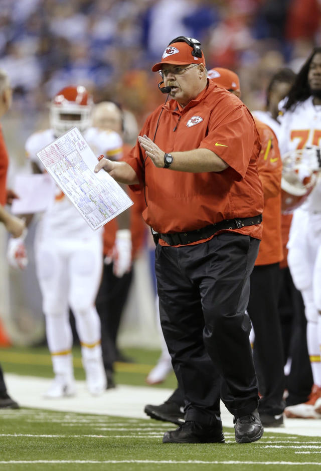 Kansas City Chiefs head coach Andy Reid directs play from the sideline against the Indianapolis Colts during the first half of an NFL wild-card playoff football game Saturday, Jan. 4, 2014, in Indianapolis. (AP Photo/Michael Conroy)