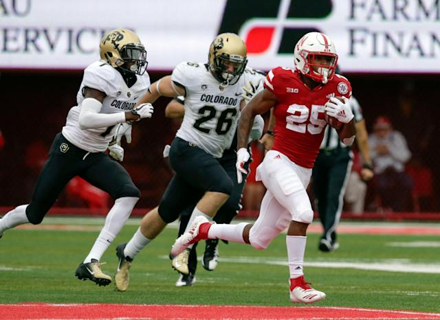"<a class=""link rapid-noclick-resp"" href=""/ncaaf/players/286921/"" data-ylk=""slk:Greg Bell"">Greg Bell</a> was Nebraska's starting running back at the beginning of the 2018 season. (AP Photo/Nati Harnik)"