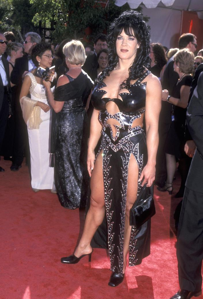 Chyna wearing a black leather look at the 1999 emmy awards