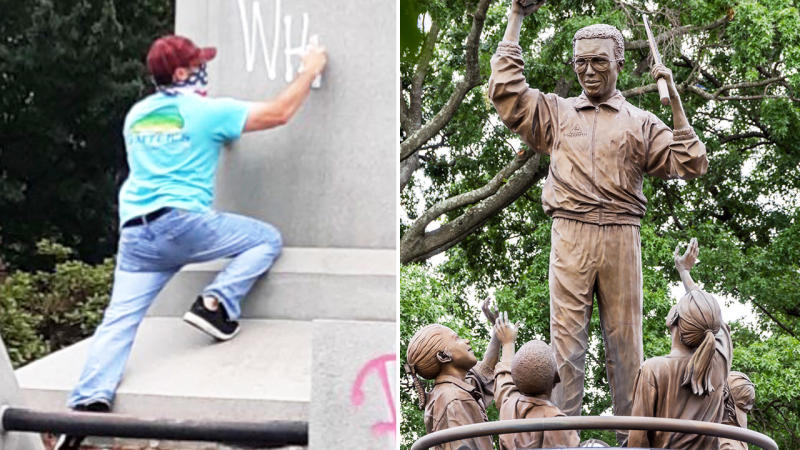A man, pictured here apparently vandalising Arthur Ashe's statue.
