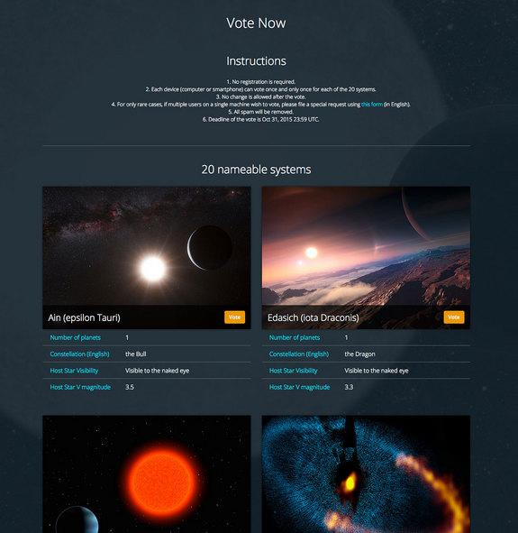 """A screenshot showing the voting page for the International Astronomical Union's """"NameExoWorlds"""" contest."""