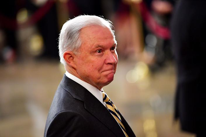 Attorney General Jeff Sessions, seen Friday at the U.S. Capitolas the casket of late Sen. John McCain lies in state. (Photo: POOL New / Reuters)