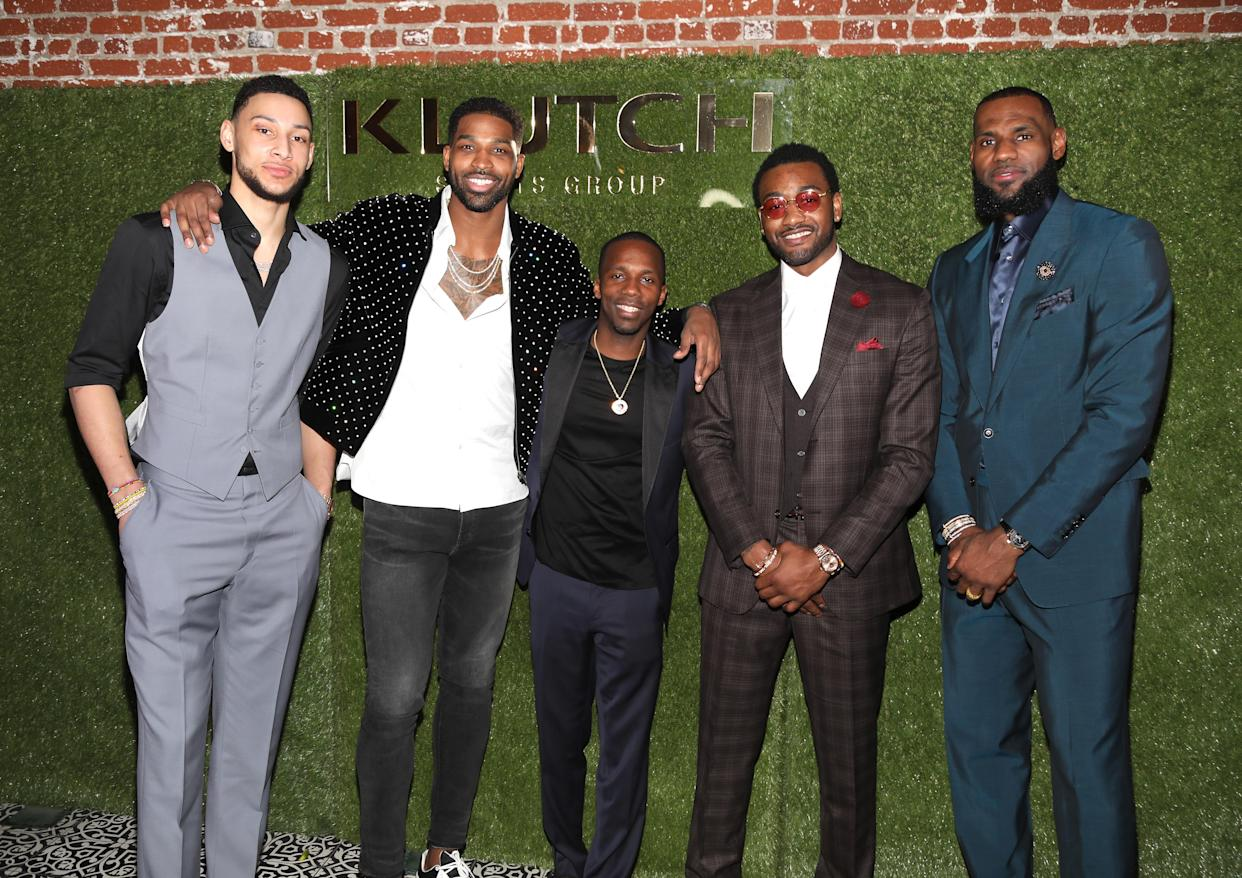 """LOS ANGELES, CA - FEBRUARY 17: Klutch Sports founder Rich Paul (C) poses with NBA Players Ben Simmons, Tristan Thompson, John Wall and Lebron James attend attends the Klutch Sports Group """"More Than A Game"""" Dinner Presented by Remy Martin at Beauty & Essex on February 17, 2018 in Los Angeles, California. (Photo by Jerritt Clark/Getty Images for Klutch Sports Group)"""