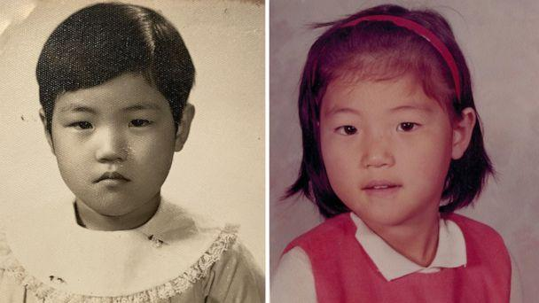 PHOTO: Left, Juju Chang in her green card photo when she immigrated to the U.S. from South Korea. Right, Juju Chang in her kindergarten photo in the U.S. (Courtesy Juju Chang)