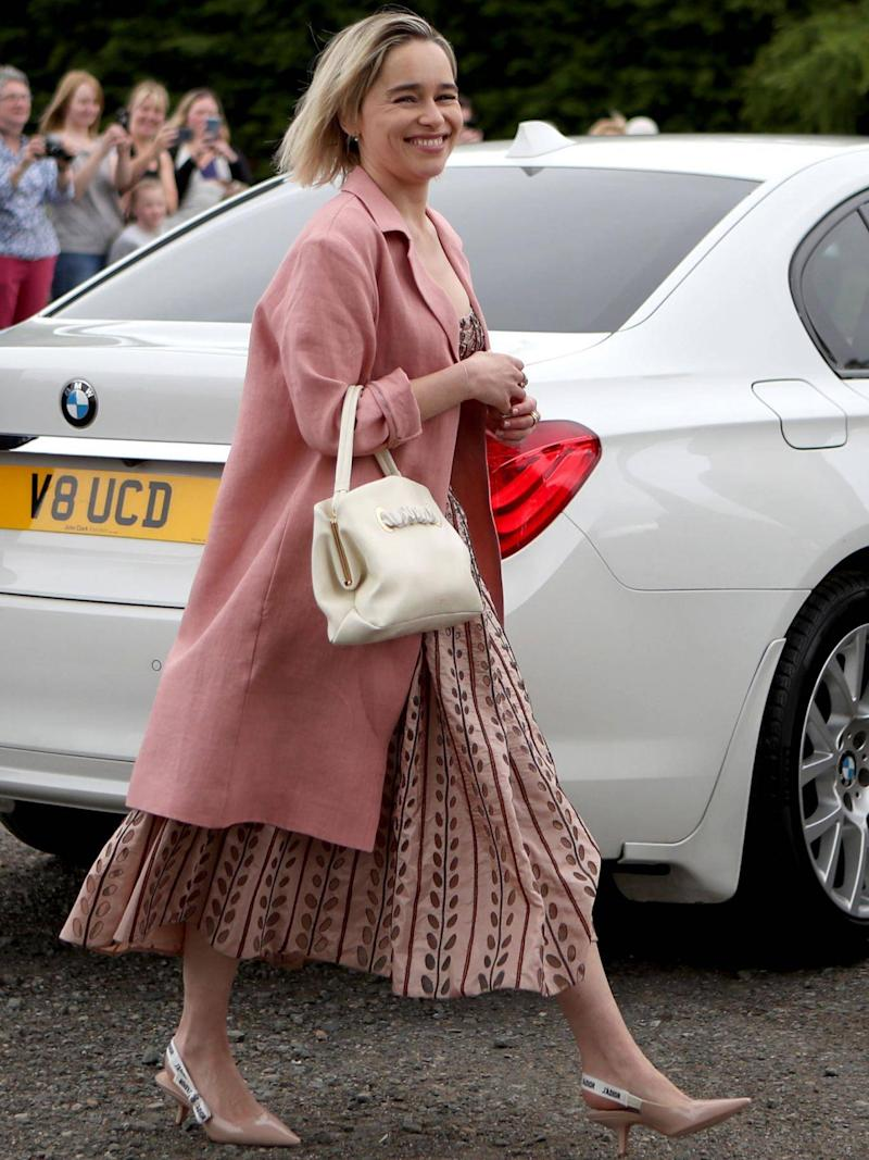 Emilia Clarke arrives at Rayne Church in Aberdeenshire for the wedding of Game of Thrones co-stars Kit Harington and Rose Leslie (Jane Barlow/PA)