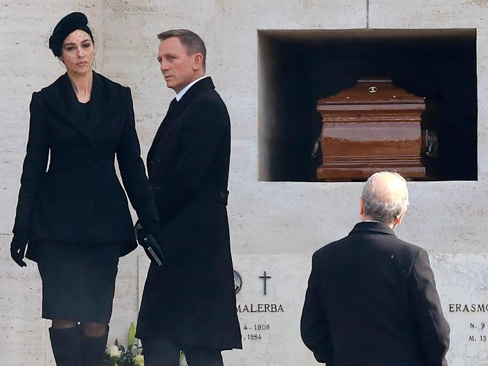Daniel Craig and Monica Bellucci on set for new bond film 'Spectre' on February 19, 2015 in Rome, Italy.