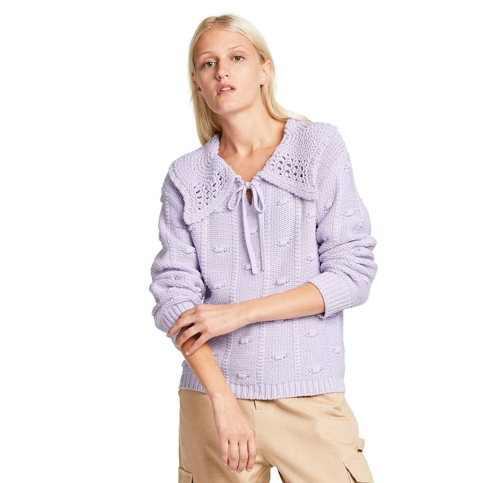 <p>Match the <span>Sandy Liang x Target Women's Collared Pullover Sweater</span> ($40) with wide-leg jeans and lug-sole boots to contrast its dainty detail.</p>