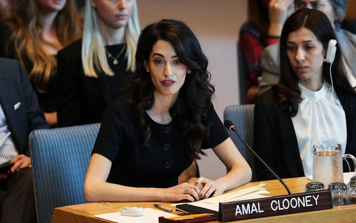 Amal Clooney, makes a speech during the United Nations Security Council meeting, alongside Yazidi Nadia Murad - Anadolu Agency