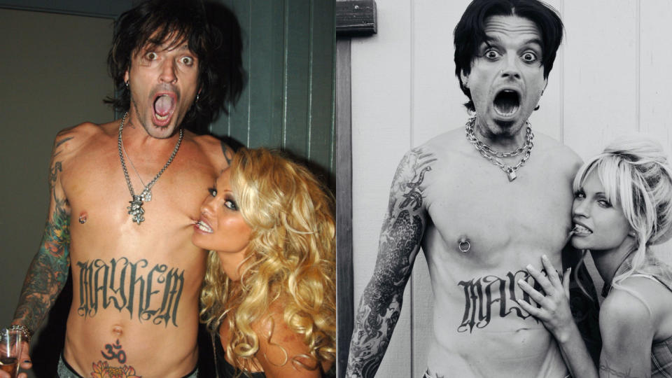 The resemblance is uncanny, as Sebastian Stan and Lily James portray Tommy Lee and Pamela Anderson. (Jeff Kravitz/FilmMagic/Hulu)