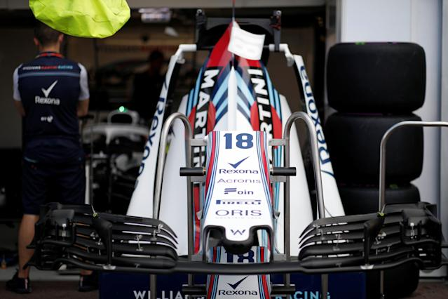 Formula One F1 - Monaco Grand Prix - Circuit de Monaco, Monte-Carlo - May 23, 2018 The front of a Williams Martini Racing race car is pictured in the pit-lane. REUTERS/Benoit Tessier