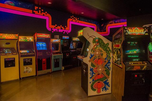 The arcade cabinet room at the National Video Game Museum in Texas.