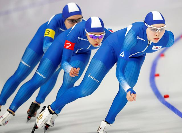 FILE PHOTO: Speed Skating - Pyeongchang 2018 Winter Olympics - Women's Team Pursuit competition - Gangneung Oval - Gangneung, South Korea - February 19, 2018 - Kim Bo-Reum, Ji Woo Park and Seon-Yeong Noh of South Korea compete. REUTERS/Phil Noble/File Photo