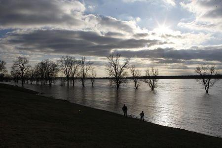 Steve Sands came with his son Weston to see the rising waters in the Mississippi River as flood waters approach their crest in Greenbelt Park in Memphis, Tennessee January 4, 2016.   REUTERS/Karen Pulfer Focht