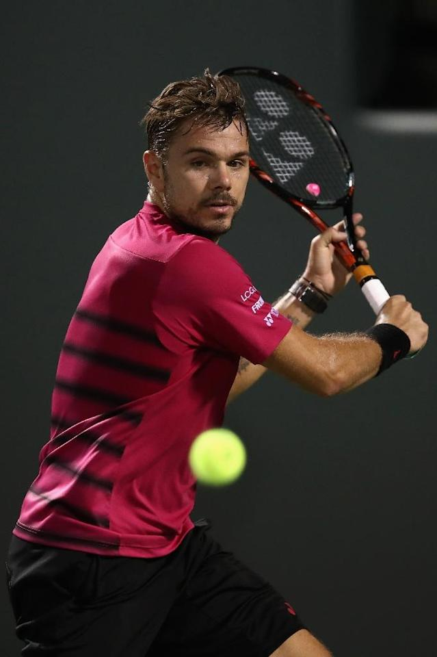Stan Wawrinka of Switzerland, seen in action against Malek Jaziri of Tunisia during their Miami Open 3rd round match, at Crandon Park Tennis Center in Key Biscayne, Florida, on March 27, 2017 (AFP Photo/Julian Finney)