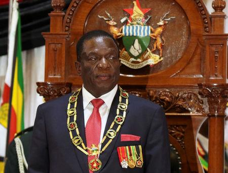 FILE PHOTO: Zimbabwean President Emmerson Mnangagwa looks on after delivering the State of the Nation Address (SONA) in Harare, Zimbabwe