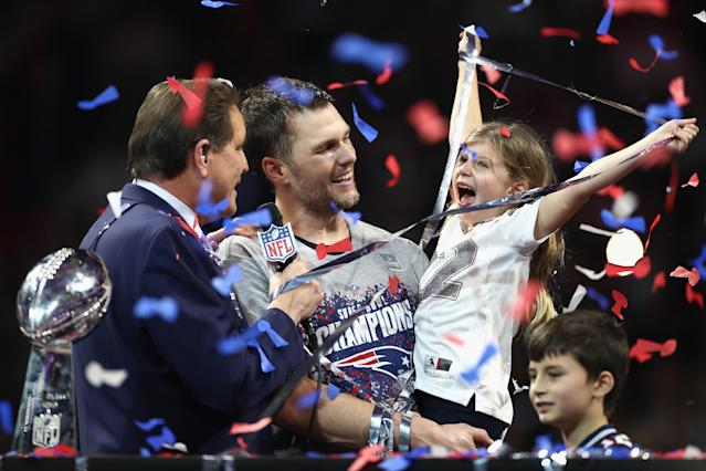 <p>Vivian Lake Brady, daughter of Tom Brady #12, celebrates the Patriots' 13-3 win over the Los Angeles Rams during Super Bowl LIII at Mercedes-Benz Stadium on February 3, 2019 in Atlanta, Georgia. (Photo by Jamie Squire/Getty Images) </p>