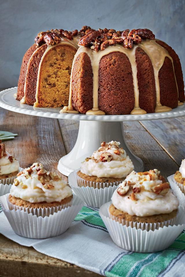 """<p><strong>Recipe: <a href=""""http://www.southernliving.com/recipes/pumpkin-spice-bundt-brown-sugar-icing-candied-pecans-recipe"""" target=""""_blank"""">Pumpkin-Spice Bundt with Brown Sugar Icing and Candied Pecans</a></strong></p> <p>This Bundt cake has all the flavors of fall, and it's picture-perfect for a Thanksgiving dessert spread. A tip from the test kitchen: For the smoothest texture and most impressive presentation, make sure the icing is still warm when you spoon it over the cake.</p>"""