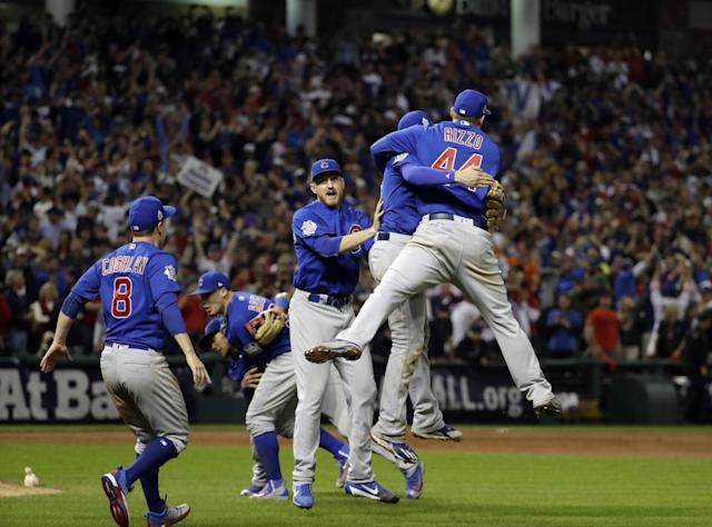 <p>The Chicago Cubs celebrate after Game 7 of the Major League Baseball World Series against the Cleveland Indians Thursday, Nov. 3, 2016, in Cleveland. The Cubs won 8-7 in 10 innings to win the series 4-3. (AP Photo/David J. Phillip) </p>