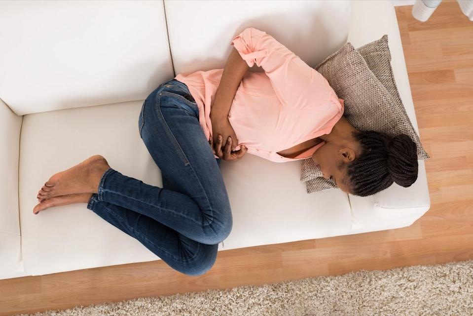 """Like abdominal pain associated with gas, bloating can happen after a heavy meal or after one featuring certain foods. """"Dietary rituals including many 'B' and 'C' vegetables are classic causes of gas and bloating and include beans, broccoli, Brussel sprouts, cabbage, and cauliflower,"""" says <strong><a href=""""http://www.drsherry.com"""" rel=""""nofollow noopener"""" target=""""_blank"""" data-ylk=""""slk:Sherry Ross"""" class=""""link rapid-noclick-resp"""">Sherry Ross</a>, MD</strong>, OB/GYN at Providence Saint John's Health Center in Santa Monica. """"Other dietary culprits include rich and fatty foods, whole grains, apples, peaches, pears, lettuce, onions, sugar-free foods containing sorbitol, mannitol and xylitol are directly associated with this frustrating symptom."""" In addition to vegetables, bloating is a common symptom of lactose intolerance and irritable bowel syndrome, she adds. In rare cases, it could be a sign of ovarian cancer, says <strong><a href=""""https://www.providence.org/doctors/profile.aspx?name=steven+a+vasilev&first=steven&middle=anatol&last=vasilev&city=santa+monica&id=257299"""" rel=""""nofollow noopener"""" target=""""_blank"""" data-ylk=""""slk:Steve Vasilev"""" class=""""link rapid-noclick-resp"""">Steve Vasilev</a>, MD</strong>, gynecologic oncologist and medical director of Integrative Gynecologic Oncology at John Wayne Cancer Institute in Santa Monica."""
