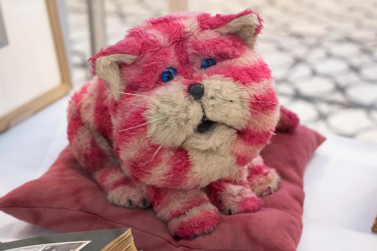 LONDON, ENGLAND - MARCH 17:  A general view of the original Bagpuss during a photocall for the Bagpuss And The Clangers Retrospective Of Smallfilms at the V&A Museum Of Childhood on March 17, 2016 in London, England.  (Photo by Gareth Cattermole/Getty Images)