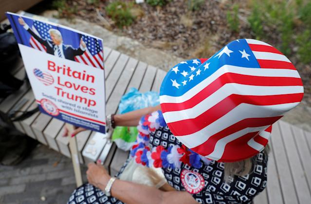 <p>A demonstrator near the U.S. Embassy waits for a rally to begin during the visit of President Trump to Britain, in London, July 14, 2018. (Photo: Yves Herman/Reuters) </p>