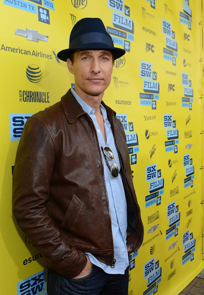 "AUSTIN, TX - MARCH 10:  Actor Matthew McConaughey attends the ""Mud"" screening at the 2013 SXSW Music, Film + Interactive Festival at the Paramount Theatre on March 10, 2013 in Austin, Texas.  (Photo by Michael Buckner/Getty Images for SXSW)"