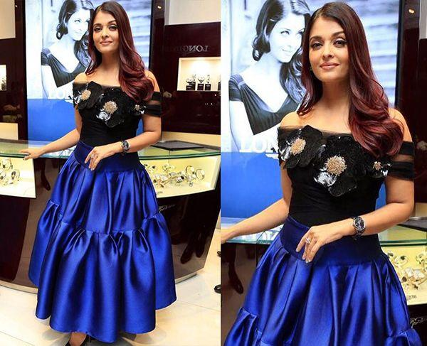 <p>Another beauty to top on this list of worst outfits is our very own beauty queen. Aishwarya was recently seen spotted in a black and blue attire by Gauri & Nainika, which gets a thumbs down from us. The black off-shoulder top with giant shimmery flowers looked hideous and cheap. The twist to the ballroom skirt was a major disaster as well. </p>