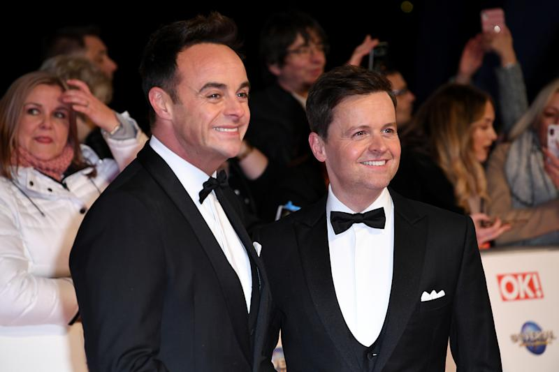 Anthony McPartlin and Declan Donnelly attending the National Television Awards 2020 held at the O2 Arena, London. Photo credit should read: Doug Peters/EMPICS