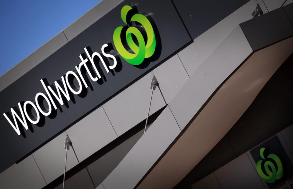 Woolworths logo atop building. Source: Reuters