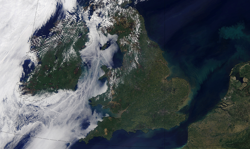 Satellite image of UK in May 2018 (Met Office)