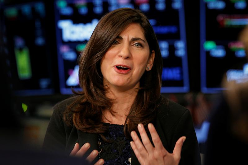 Stacey Cunningham speaks during an interview with CNBC on the floor of the NYSE in New York, U.S., May 22, 2018. REUTERS/Brendan McDermid