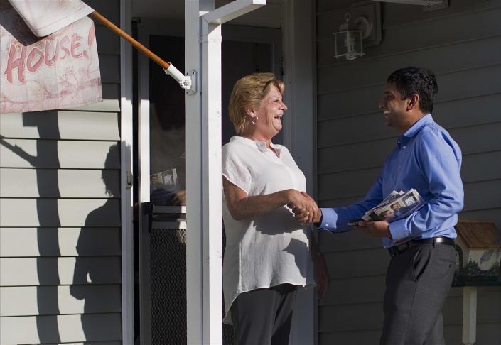 Ro Khanna with resident of the 17th Congressional District
