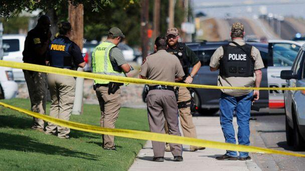 PHOTO: Authorities cordon off a part of the sidewalk in Odessa, Texas, after a mass shooting on Aug. 31, 2019. (Mark Rogers/Odessa American via AP)